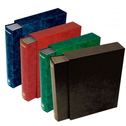 stock book with slipcase, 64 black pages
